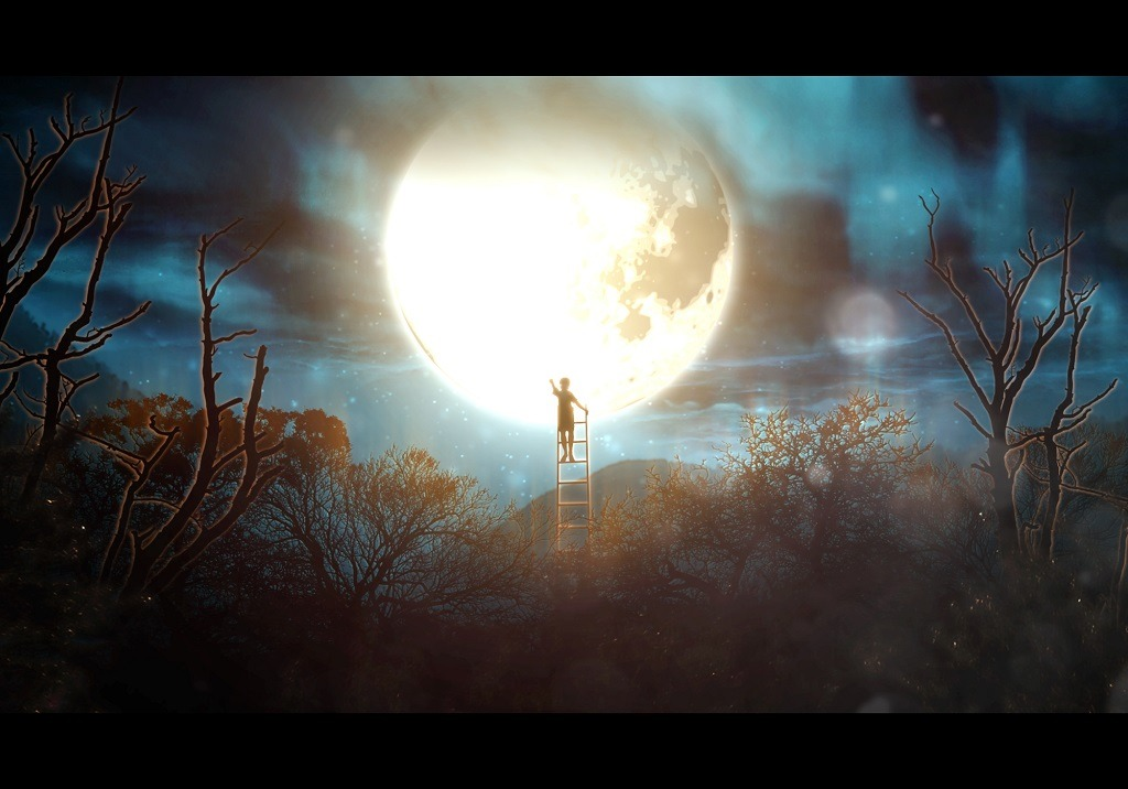 Surreal boy on a ladder reaching the moon.