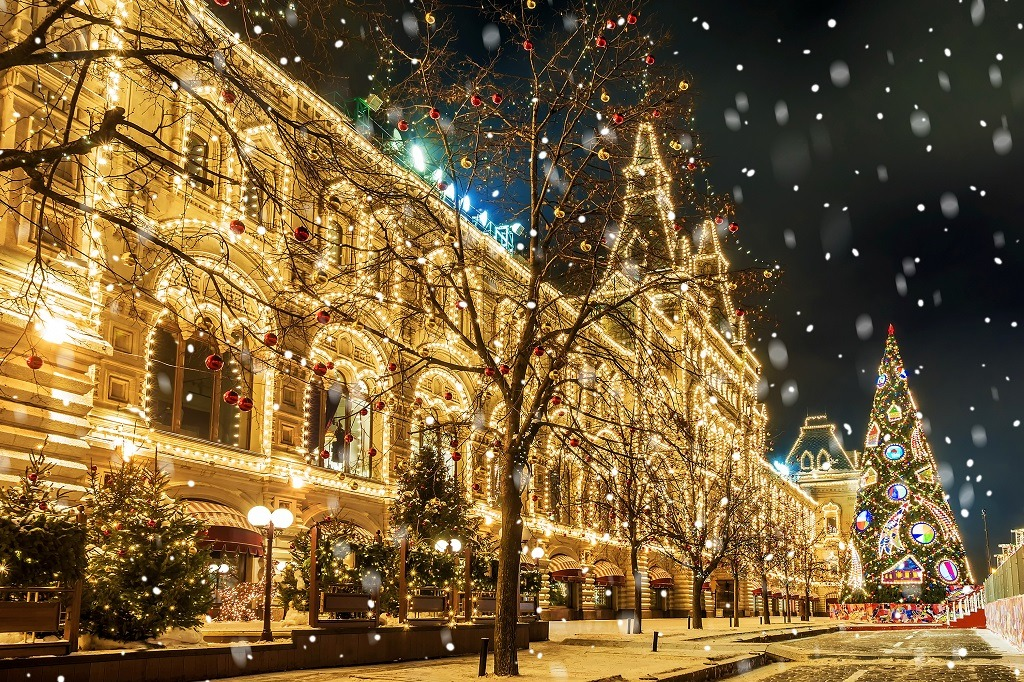 Christmas in Moscow,festive decoration Red Square.
