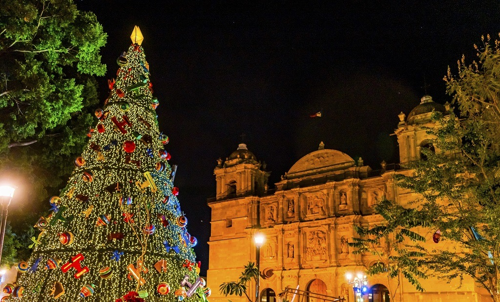 Facade of the Lady Assumption Cathedral Church with beautiful Christmas tree in Oaxaca, Mexico