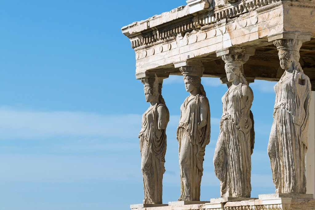 The Caryatid Porch of the Erechtheion Temple at Acropolis Hill.
