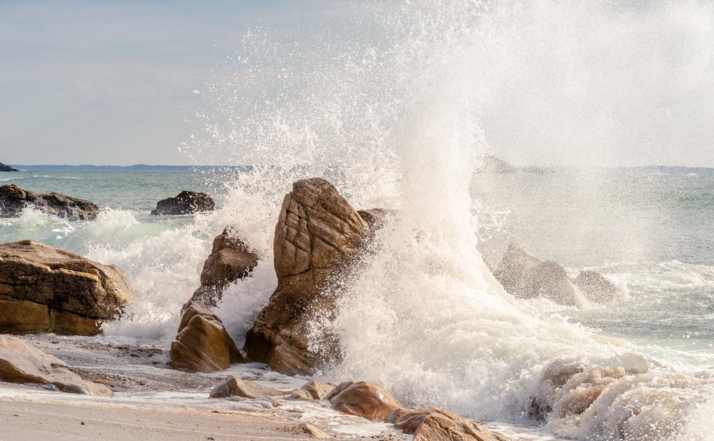 A beautiful beach with wild  waves