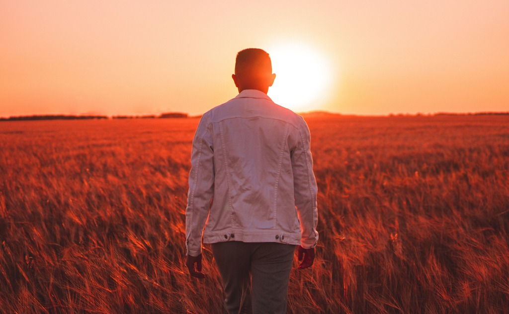 Person in the red field