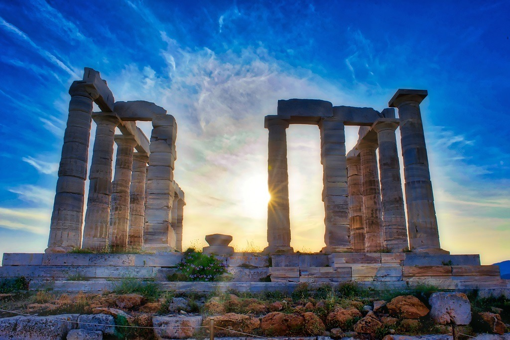 The Temple of Poseidon at Sounion, Greece, at sunset.