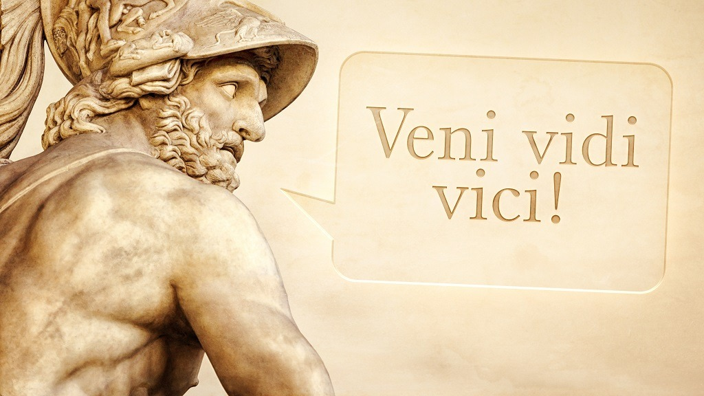 Menelaus statue with latin text.