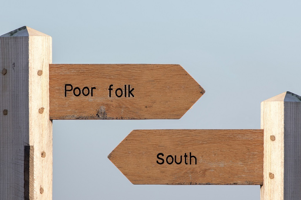 Economic division between the North and South UK.