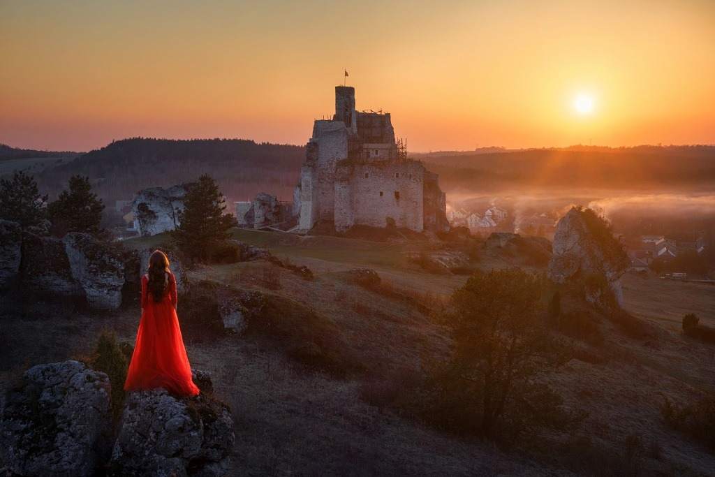 Woman in red dress looking at the castle from afar.