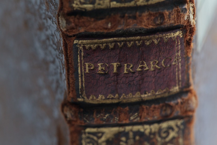Il Petrarca, old leather book spine.