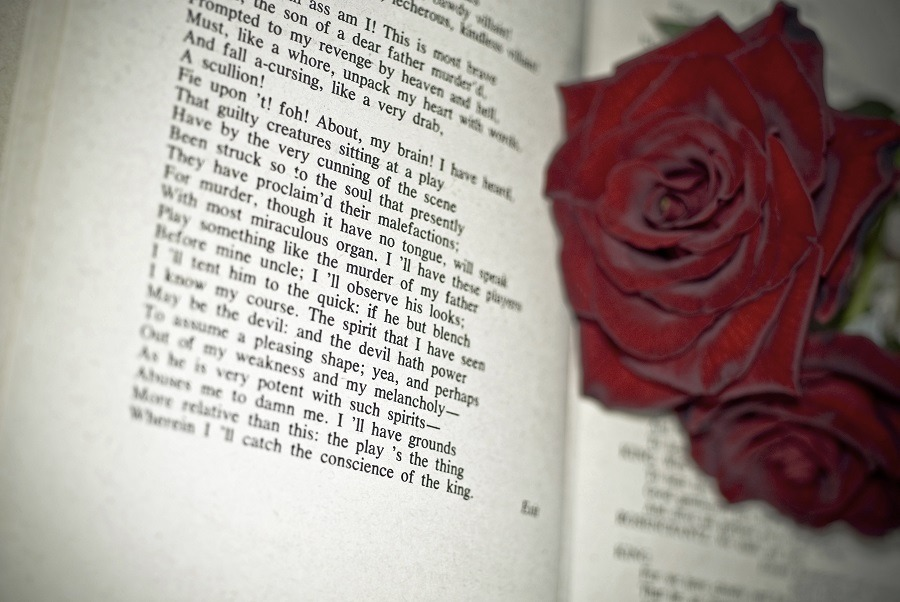 Red roses on top of a poetry book.