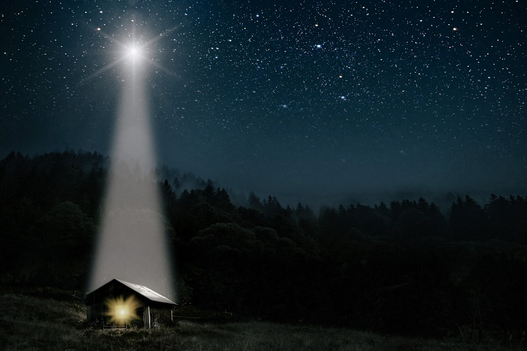 A very bright star signifying the birth of of Jesus Christ.
