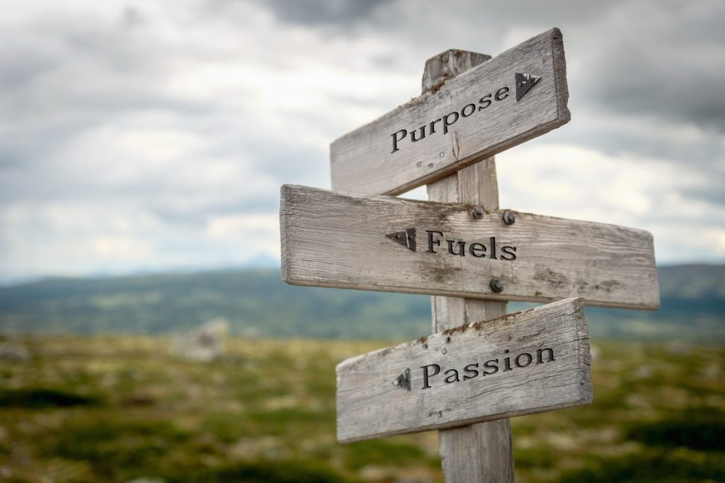 Purpose Fuels Passion text engraved on old wooden signpost outdoors in nature.