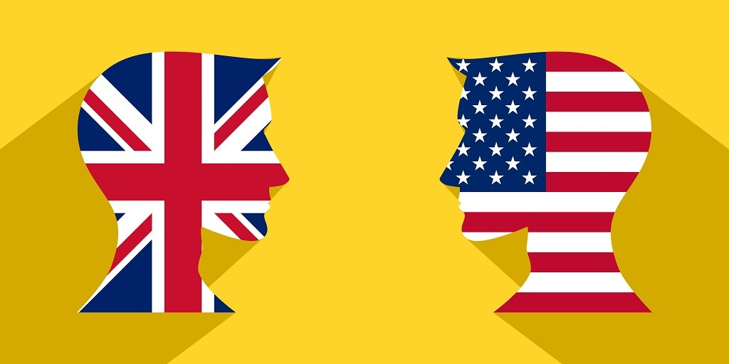 Representation of American and British flags in the form of two male heads designed with their respective country's flags.