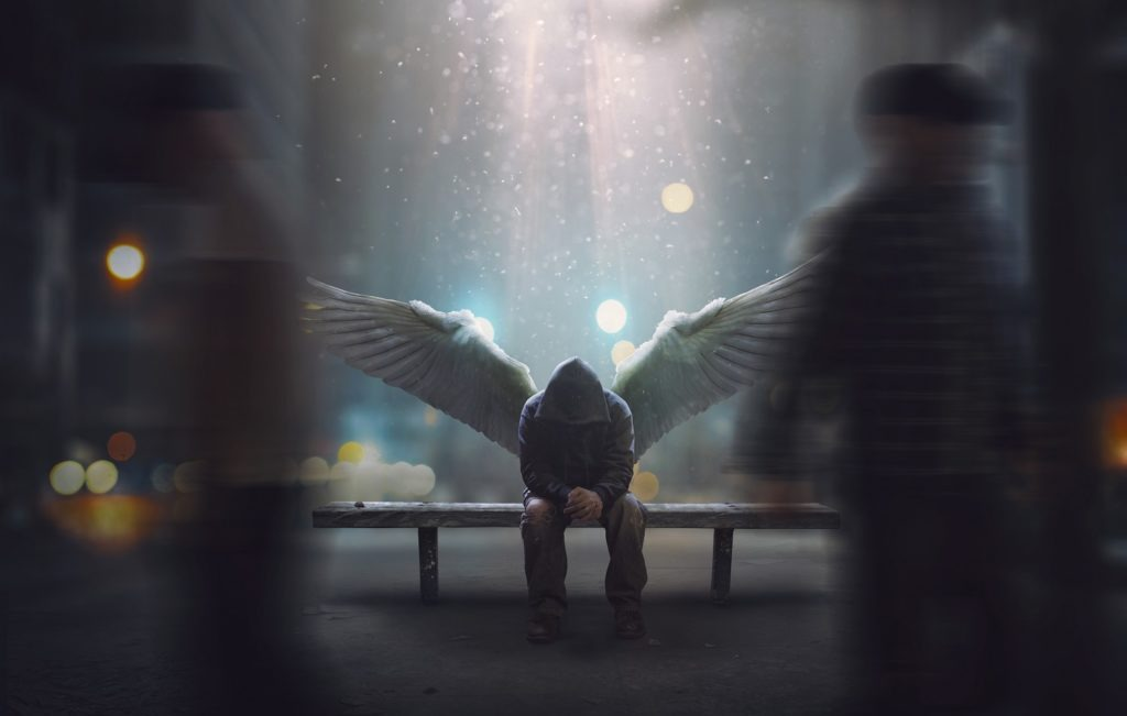 An angel face-hidden bowing, sitting on a bench, heavenly light showering upon him.