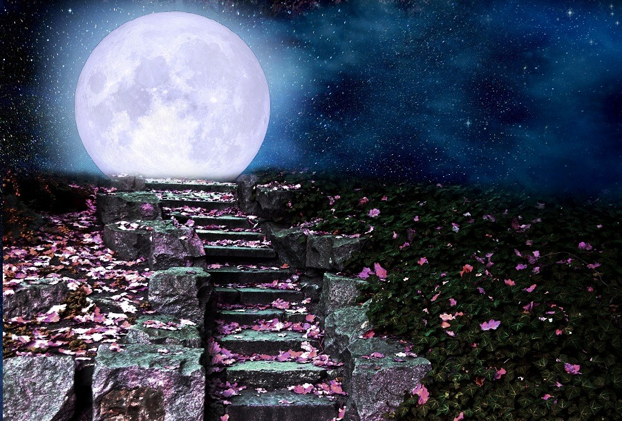 Stone steps in the night park, full moon rising over the hill.