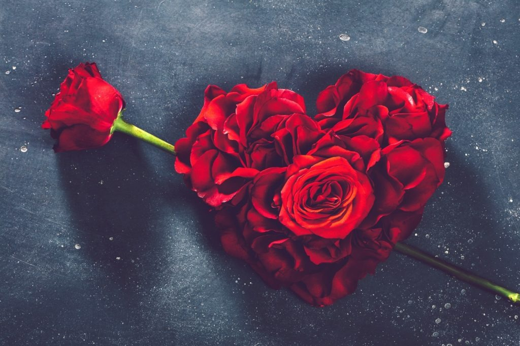 Heart-shaped roses with stem rose arrow.