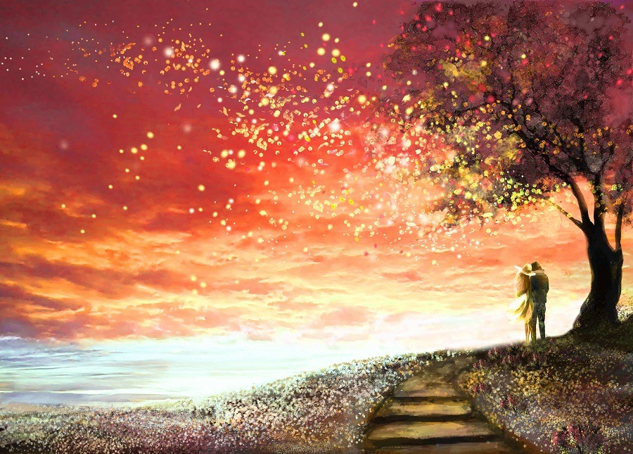 Stunning fantasy sky, stars woman and man under an tree looking at the sunset.
