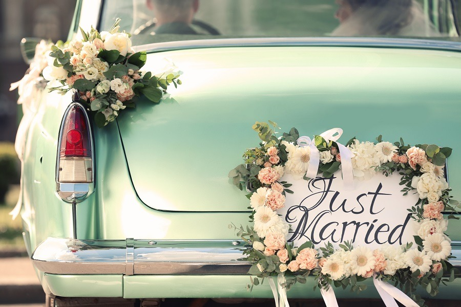 Beautiful wedding car with plate JUST MARRIED.