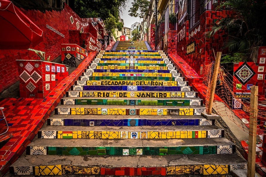 Close-up view of the Selaron Steps in the historic center of Rio de Janeiro.