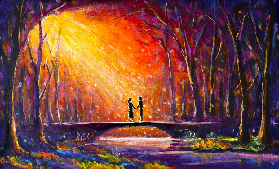 Secret lovers meeting on a bridge in the woods at night.