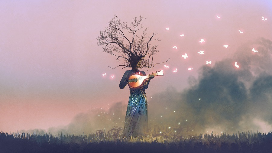 Fairy-like creature with branch head playing magic banjo string instrument with glowing butterflies.