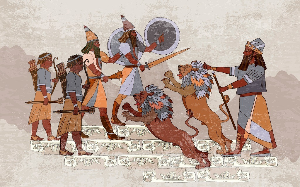 Sumerian civilization king, lion and warrior in hunting scene.