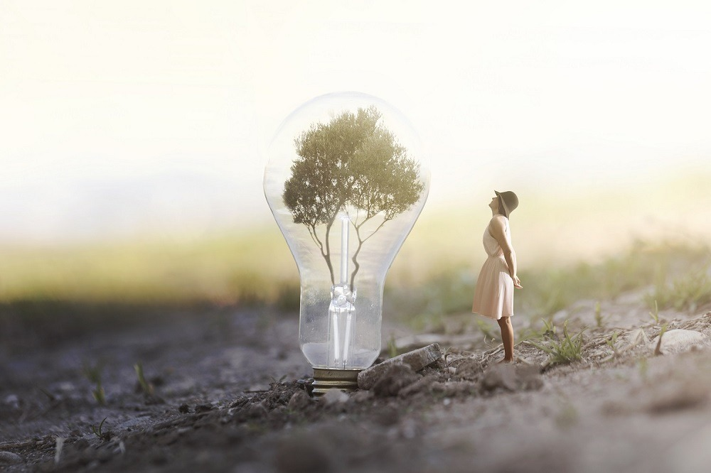 A surreal woman is looking at a giant bulb containing a tree.