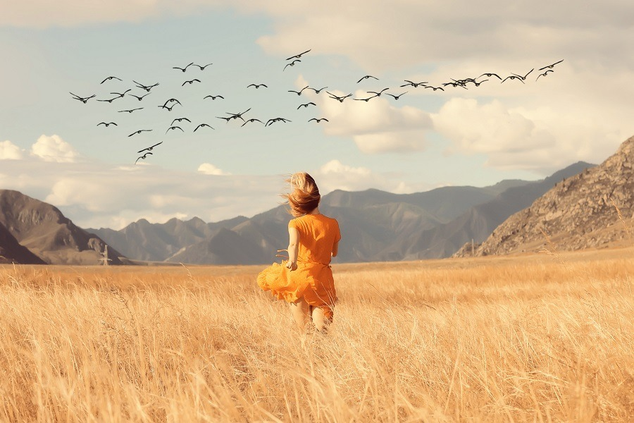 Woman in orange dress running freely in the field with flying birds above.