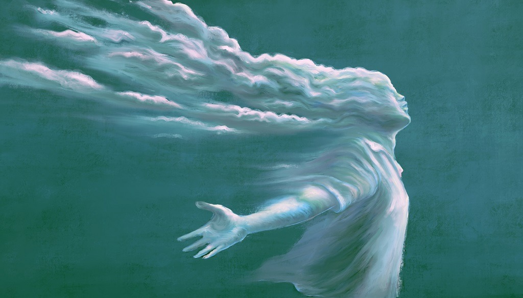 Freedom of expression and hope in surreal art of man with cloud head.